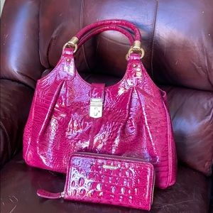 Brahmin top handle handbag and wallet